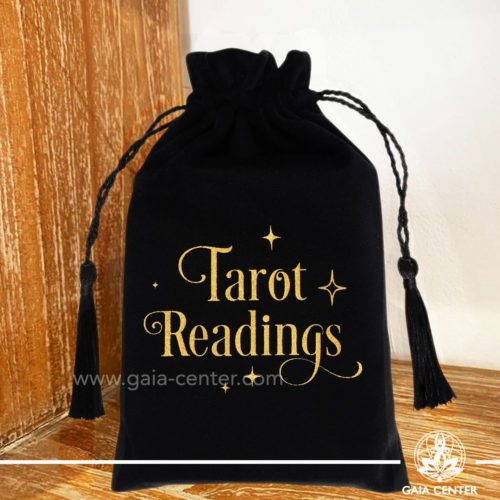 Tarot Cards Bag - Textile velvet drawstring pouch to keep tarot decks and oracle cards. Tarot accessories and tools at Gaia Center | Cyprus.