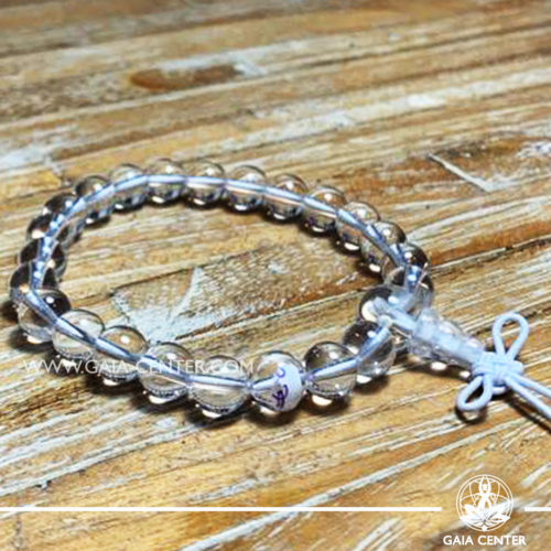 Clear Quartz Crystal Power Bracelet with Guru bead and tibetan knot. Healing Crystals and Gemstone selection at Gaia Center   Cyprus.