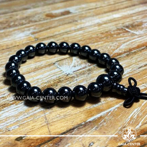Hematite Crystal Power Bracelet with Guru bead and tibetan knot. Healing Crystals and Gemstone selection at Gaia Center | Cyprus.