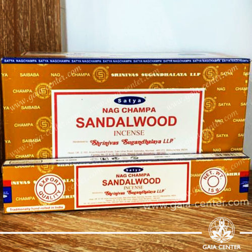 Incense Sticks pack 15g Sandalwood Nag Champa by Satya at Gaia Center | Cyprus. Selection of natural Incense sticks and Incense holders. Cyprus delivery to: Limassol, Paphos, Nicosia, Larnaca, Paralimni, Strovolos. Including provinces and small suburbs. Europe and International Worldwide shipping.