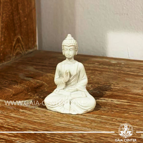 White Buddha statue mini size at Gaia Center | Cyprus.