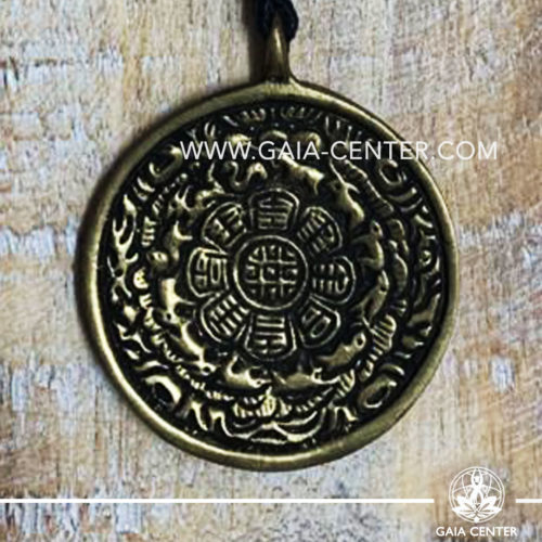 Tibetan Pendant Round Calendar design. Made from combination of metals, silver color style. On an adjustable black string. Tibet Selection of Tibetan Jewelry made from crystals, gemstones, combination of metals at Gaia Center | Cyprus.