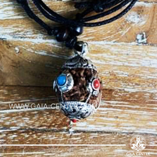 Tibetan Pendant Rudraksha. Adjustable black string. Selection of Tibetan Jewelry made from crystals, gemstones, combination of metals at Gaia Center | Cyprus.