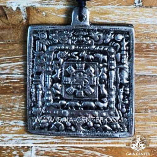 Tibetan Pendant Square Calendar design. Made from combination of metals, silver color style. On an adjustable black string. Tibet Selection of Tibetan Jewelry made from crystals, gemstones, combination of metals at Gaia Center | Cyprus.
