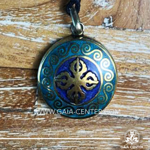 Crystal Pendant - Tibetan Pendant Double Dorje symbol. Adjustable black string. Selection of Tibetan Jewelry made from crystals, gemstones, combination of metals at Gaia Center | Cyprus.