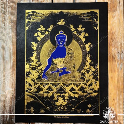 Tibetan Medicine Buddha Blue & Gold Style. Wall Ornament at Gaia Center | Cyprus.