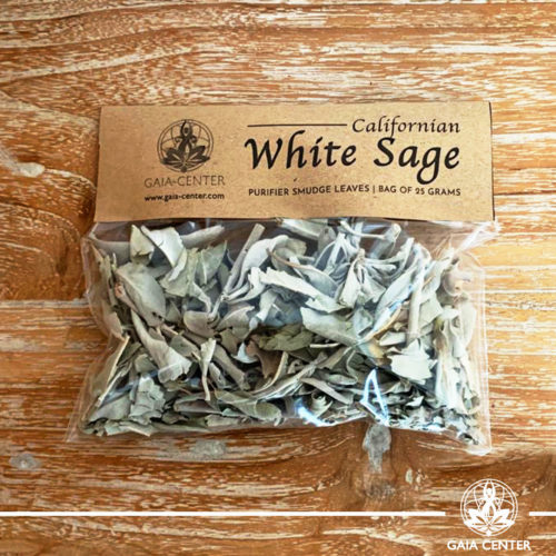 Californian White Sage Smudge Leaves Bag 25g for space and energy clearing. Selection at Gaia Center   Cyprus.