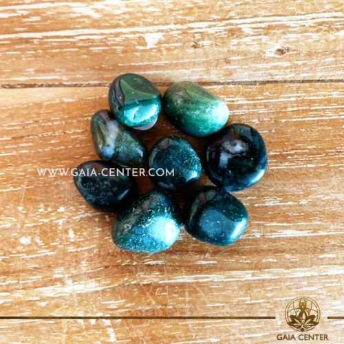 Agate Moss Green 10-20mm Small Tumblestones. Crystals and semiprecious gemstone selection at GAIA CENTER | Cyprus.