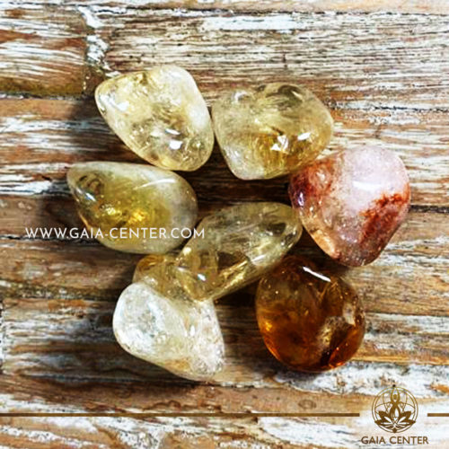 Citrine Heat Treated Extra Quality Tumblestone 20-30mm Medium shape. Crystals and semiprecious gemstone selection at GAIA CENTER | Cyprus.