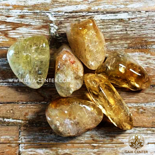 Citrine Heat Treated Extra Quality Tumblestone 30-40mm Large shape. Crystals and semiprecious gemstone selection at GAIA CENTER   Cyprus.