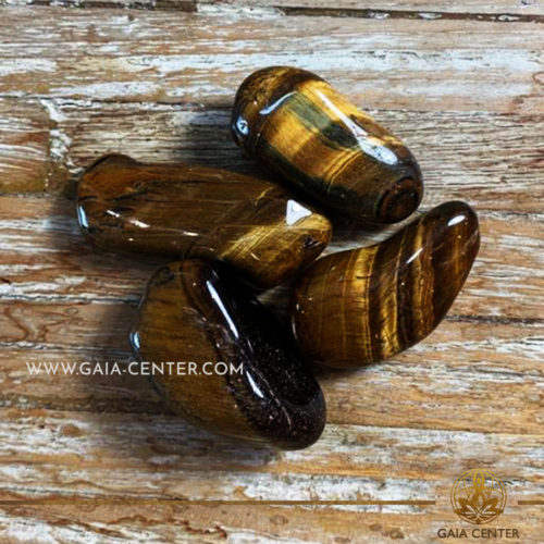 Tiger Eye Gold Tumblestones 40-50mm Extra Large shape. Crystals and semiprecious gemstone selection at GAIA CENTER | Cyprus.