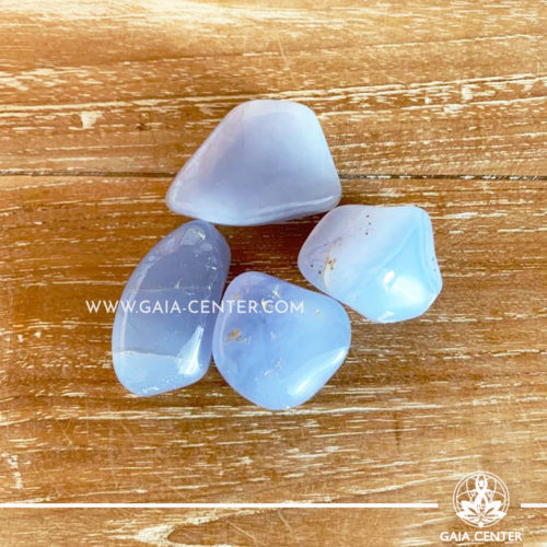 Blue Chalcedony Tumblestones 30-40mm Large shape. Crystals and semiprecious gemstone selection at GAIA CENTER | Cyprus.