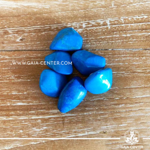 Howlite Blue Tumblestones 20-30mm Medium shape. Crystals and semiprecious gemstone selection at GAIA CENTER | Cyprus.