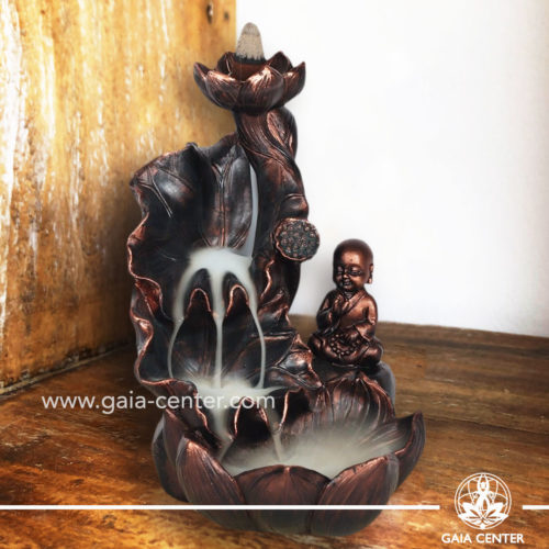 Backflow Incense Burner - Buddha on a Lotus Fountain. Backflow burners an Backflow dhoop cones selection at Gaia Center | Cyprus.