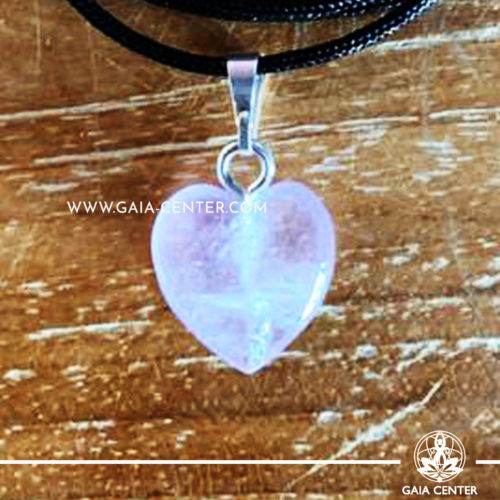 Crystal Pendant - Amethyst Heart pendant, silver plated on a string. Crystal Jewellery collection: semiprecious gemstone and crystal pendants selection at Gaia Center | Cyprus.