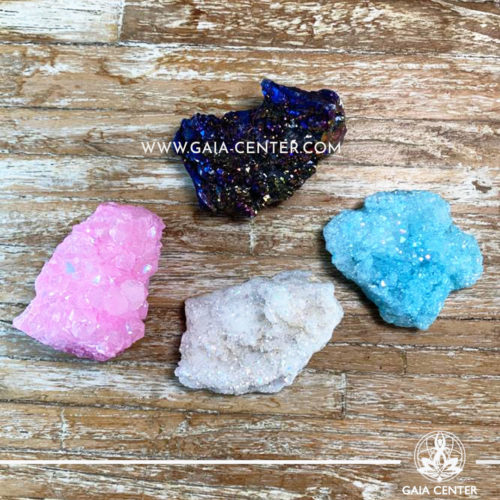 Crystal Quartz Aura Druze Clusters rough crystals. Crystals and semiprecious gemstones and minerals selection at GAIA CENTER | Cyprus.