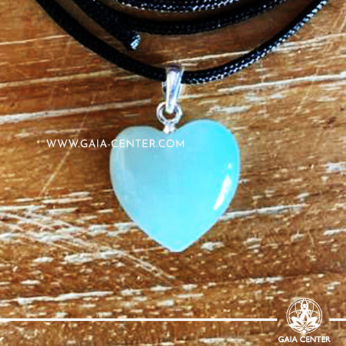 Crystal Pendant - Aquamarine Heart pendant, silver plated on a string. Crystal Jewellery collection: semiprecious gemstone and crystal pendants selection at Gaia Center | Cyprus.