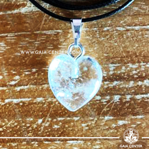 Crystal Pendant - Clear Quartz Heart pendant, silver plated on a string. Crystal Jewellery collection: semiprecious gemstone and crystal pendants selection at Gaia Center | Cyprus.