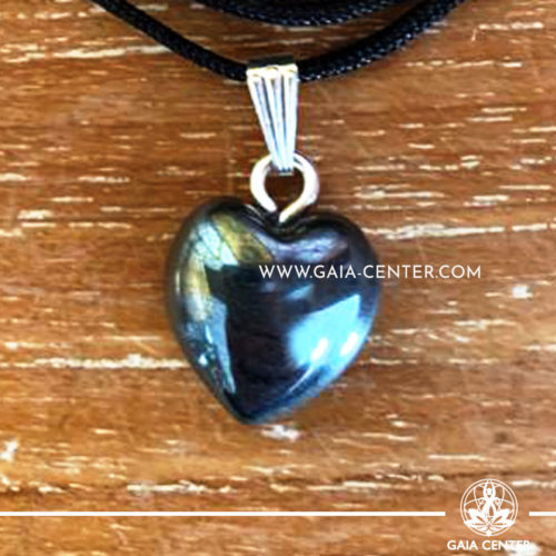 Crystal Pendant - Hematite Heart pendant, silver plated on a string. Crystal Jewellery collection: semiprecious gemstone and crystal pendants selection at Gaia Center | Cyprus.