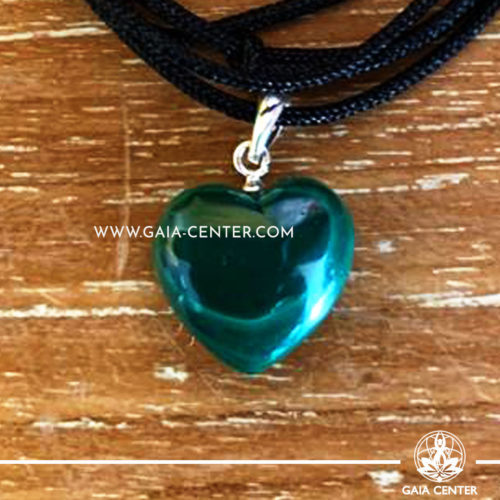 Crystal Pendant - Malachite Heart pendant, silver plated on a string. Crystal Jewellery collection: semiprecious gemstone and crystal pendants selection at Gaia Center | Cyprus.