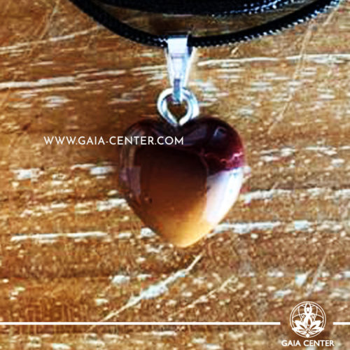 Crystal Pendant - Mookaite Stone Heart pendant, silver plated on a string. Crystal Jewellery collection: semiprecious gemstone and crystal pendants selection at Gaia Center | Cyprus.
