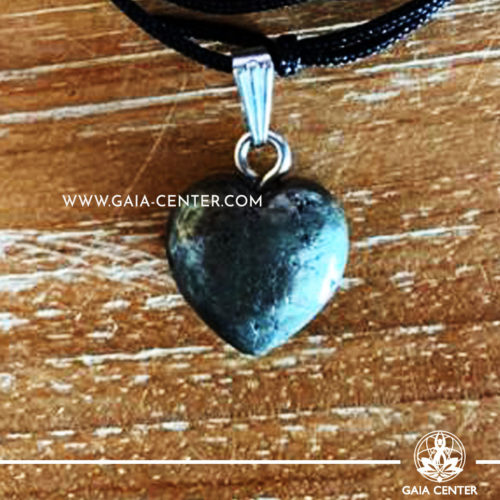 Crystal Pendant - Pyrite Heart pendant, silver plated on a string. Crystal Jewellery collection: semiprecious gemstone and crystal pendants selection at Gaia Center | Cyprus.