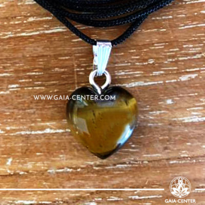 Crystal Pendant - Tigers Eye Heart pendant, silver plated on a string. Crystal Jewellery collection: semiprecious gemstone and crystal pendants selection at Gaia Center | Cyprus.