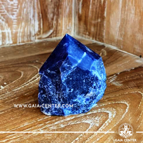 Crystal Sodalite Cut Base Polished Point from Brazil. Crystal size: H:80mm L:70mm W:60mm. Crystal and Gemstone selection at Gaia Center | Cyprus.