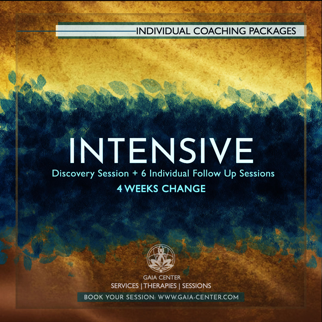Individual Coaching Sessions Package Offers: Intensive 4 weeks change includes: Initial Discovery Consultation plus 4 weeks follow up mentoring sessions