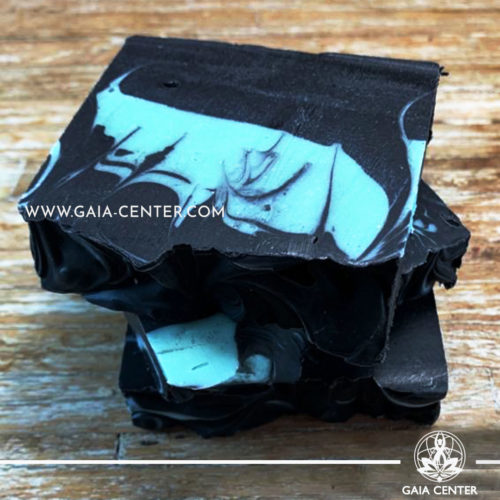 Natural Organic Soap Bar - Activated Charcoal and Tea Tree. Base ingredients: Olive oil, Coconut Oil, Castor Oil, and Shea Butter, Charcoal, Tea Tree essential oil and more. Natural Soaps selection at Gaia Center in Cyprus available for online orders and Cyprus/ International Delivery.
