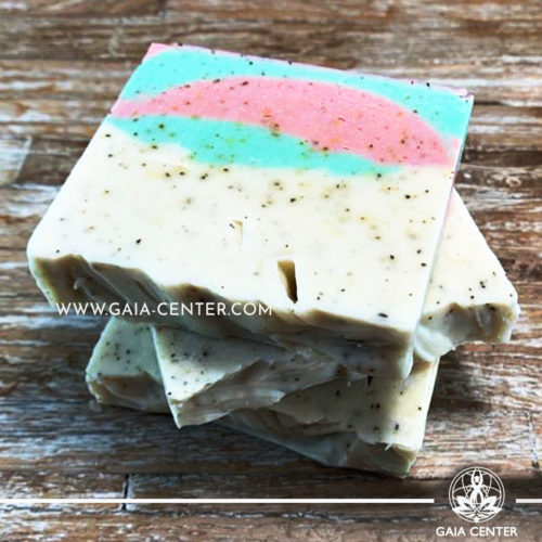 Natural Organic Soap Bar - Colloidal Oatmeal and Goat Milk. Base ingredients: Olive oil, Coconut Oil, Castor Oil, Goat Milk and more. Natural Soaps selection at Gaia Center in Cyprus available for online orders and Cyprus/ International Delivery.