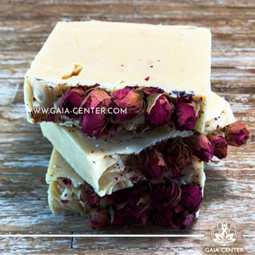 Natural Organic Soap Bar - Rose and Goat Milk. Base ingredients: Olive oil, Coconut Oil, Castor Oil and Shea Butter, Goat Milk, Rose extract and more. Natural Soaps selection at Gaia Center in Cyprus available for online orders and Cyprus/ International Delivery.