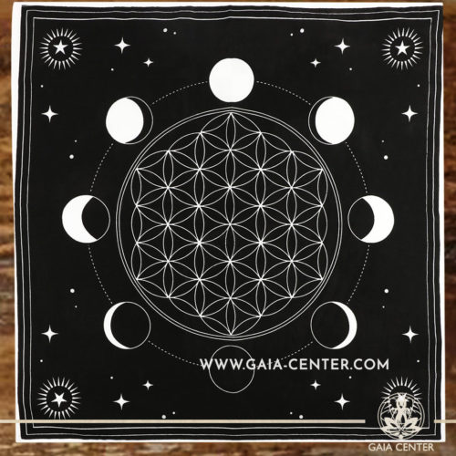 Altar Cloth - Moon Phase Crystal Grid & Flower of Life style 70x70cm is perfect for Tarot, Oracle cards, Intuitive Reading, Crystal and Rune placement. Tarot | Oracle | Angel Cards selection and Altar Accessories at Gaia Center | Cyprus.