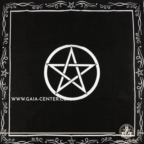 Altar Cloth -Pentacle Design 94x94cm is perfect for Tarot, Oracle cards, Intuitive Reading, Crystal and Rune placement. Tarot | Oracle | Angel Cards selection and Altar Accessories at Gaia Center | Cyprus.
