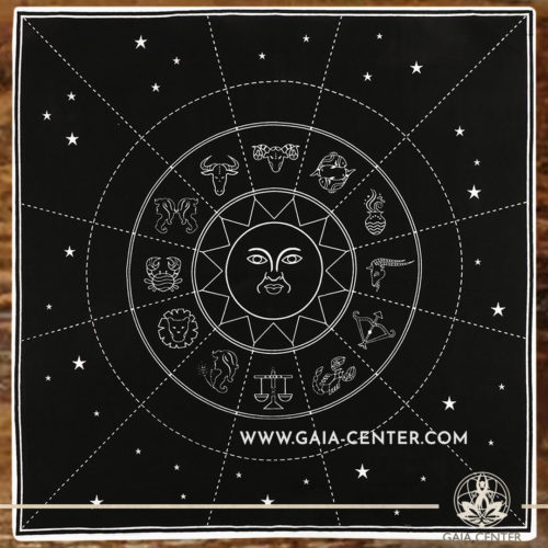 Altar Cloth - Astrological style 70x70cm is perfect for Tarot, Oracle cards, Intuitive Reading, Crystal and Rune placement. Tarot | Oracle | Angel Cards selection and Altar Accessories at Gaia Center | Cyprus.