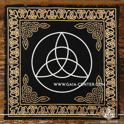 Altar Cloth - Triquetra style 65x65cm is perfect for Tarot, Oracle cards, Intuitive Reading, Crystal and Rune placement. Tarot | Oracle | Angel Cards selection and Altar Accessories at Gaia Center | Cyprus.