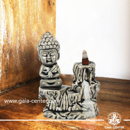 Backflow Incense Burner - Buddha fountain grey ceramic color. Backflow incense burners an Backflow dhoop cones selection at Gaia Center | Cyprus.