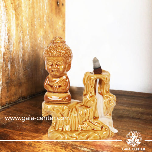 Backflow Incense Burner - Buddha fountain yellow ceramic color. Backflow incense burners an Backflow dhoop cones selection at Gaia Center | Cyprus.