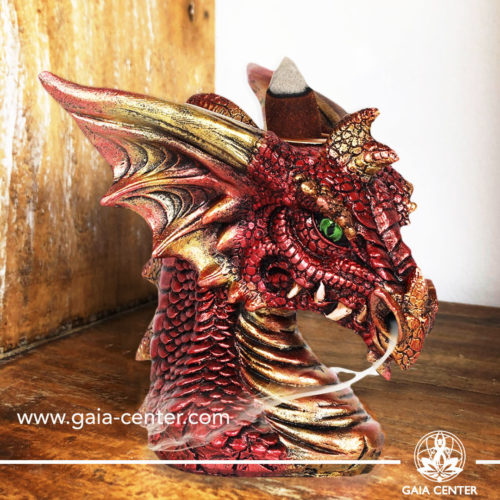Backflow Incense Burner - Dragon red Aroma Fountain. Backflow incense burners an Backflow dhoop cones selection at Gaia Center | Cyprus.