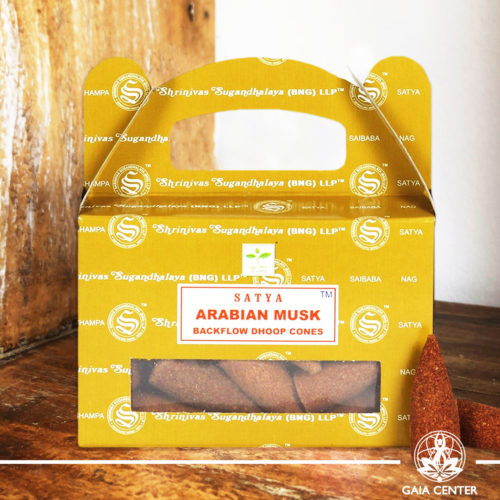 Backflow Dhoop Incense Cones Arabian Musk by Satya at Gaia Center | Cyprus. Pack contains 24 cones. Backflow Incense Burners and Dhoop Cones selection.