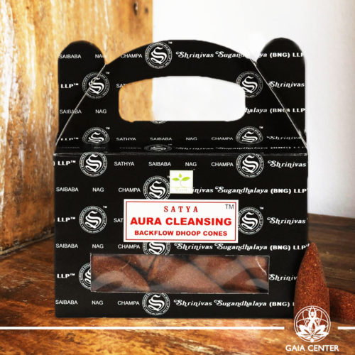 Backflow Dhoop Incense Cones Aura Cleansing by Satya at Gaia Center | Cyprus. Pack contains 24 cones. Backflow Incense Burners and Dhoop Cones selection.