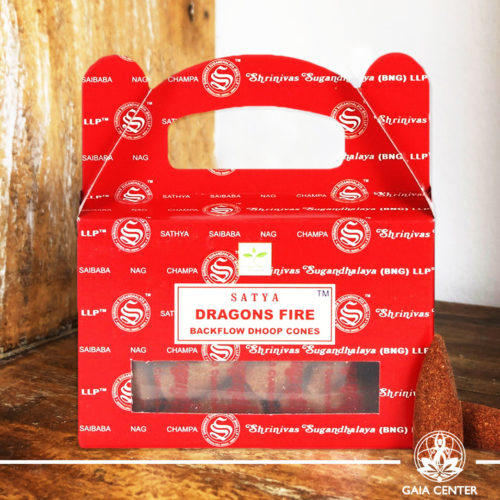 Backflow Dhoop Incense Cones Dragon's Fire by Satya at Gaia Center | Cyprus. Pack contains 24 cones. Backflow Incense Burners and Dhoop Cones selection.
