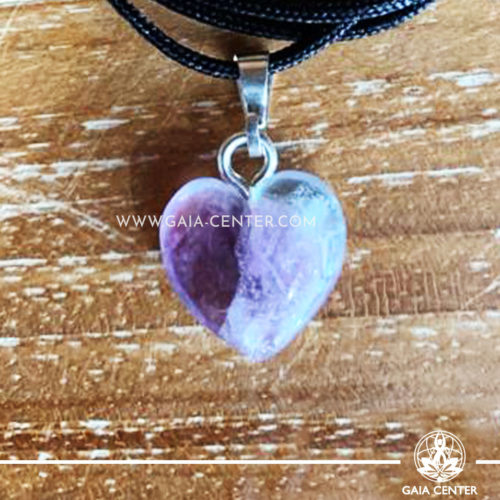 Crystal Pendant - Fluorite Heart pendant, silver plated on a string. Crystal Jewellery collection: semiprecious gemstone and crystal pendants selection at Gaia Center | Cyprus.