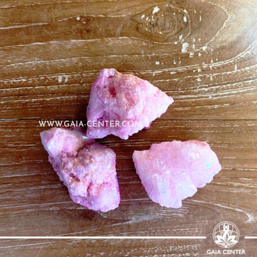 Crystal Quartz Pink Aura Druze Clusters rough crystals. Crystals and semiprecious gemstones and minerals selection at GAIA CENTER | Cyprus.