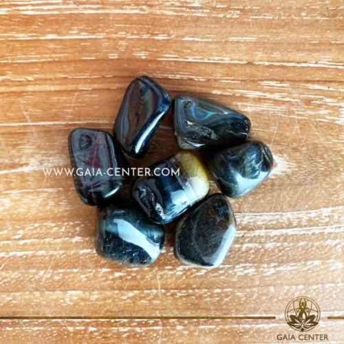 Tigers Eye Blue Tumbled Stones 10-20mm shape. Crystals and semiprecious gemstone selection at GAIA CENTER | Cyprus.