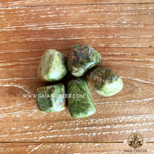 Unakite Tumbled Stones 20-30mm shape. Crystals and semiprecious gemstone selection at GAIA CENTER | Cyprus.