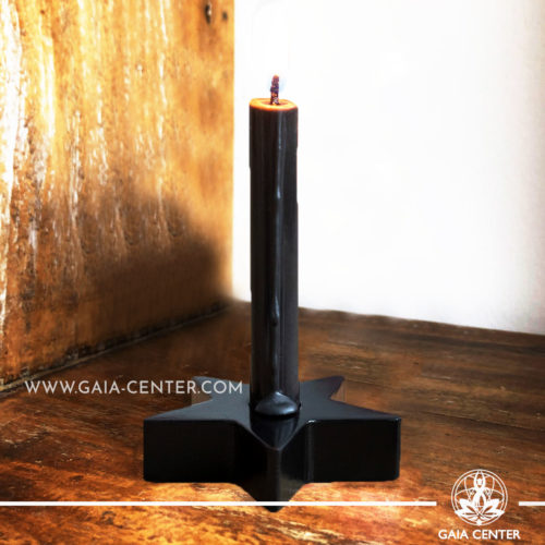 Spell Candle Holder - Black Star for Ritual candles and Ceremonies. Selection of Ceremonial and Spell Candles at Gaia Center|Cyprus.