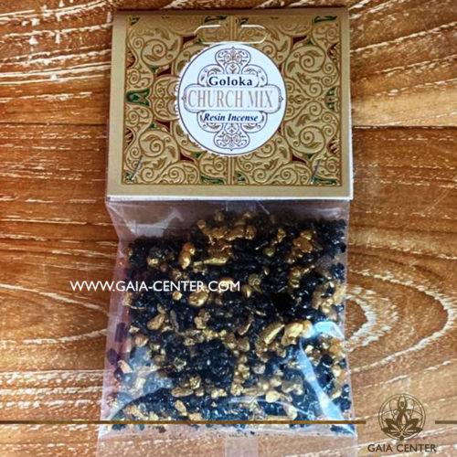 Incense Resin Church Mix by Goloka for smudging and space clearing ceremonies. 1 pack contains 30g. of resin. Aroma Incense Resins selection at Gaia Center in Cyprus.