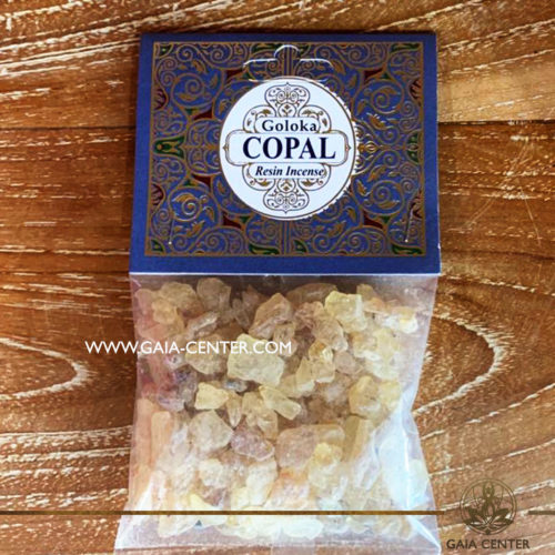 Incense Resin Copal by Goloka for smudging and space clearing ceremonies. Aroma Incense Resins selection at Gaia Center in Cyprus.