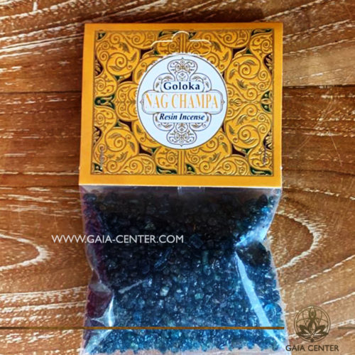 Incense Resin Nag Champa by Goloka for smudging and space clearing ceremonies. 1 pack contains 30g. of resin. Aroma Incense Resins selection at Gaia Center in Cyprus.